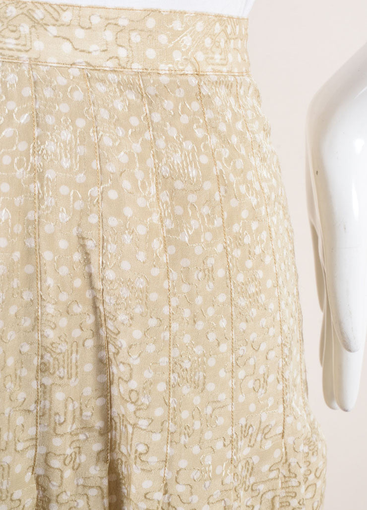 Chanel Beige and White Polka Dot Jacquard Pleated Silk Skirt Detail