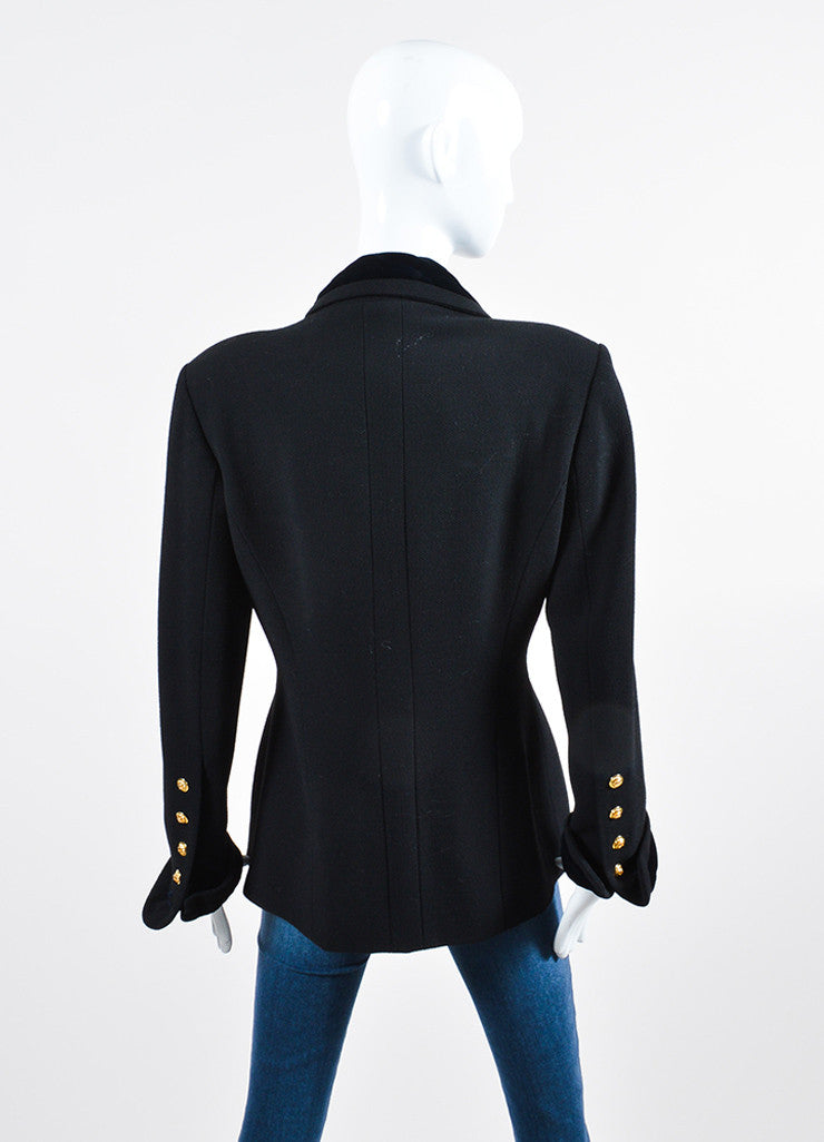 Black and Gold Chanel Wool and Velvet 'CC' Button Double Breasted Jacket Backview