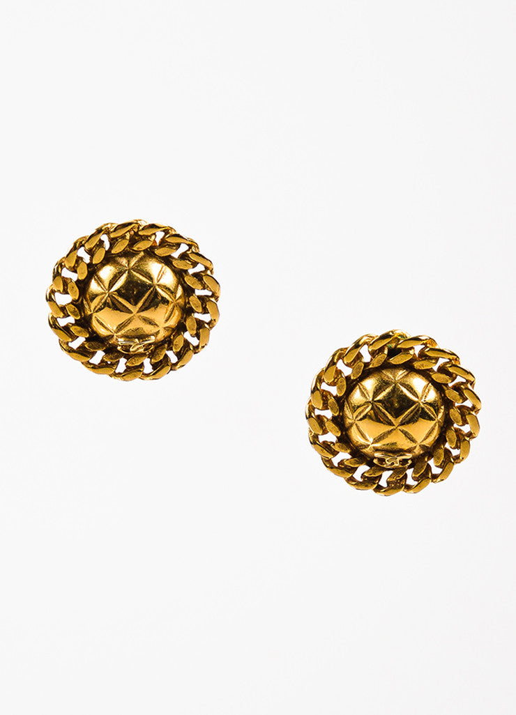 Chanel Gold Toned 'CC' Logo Quilted Chain Clip On Button Earrings Frontview