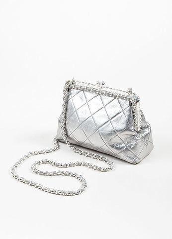 Metallic Silver Chanel Leather Quilted Crossbody Chain Frame Evening Bag Sideview