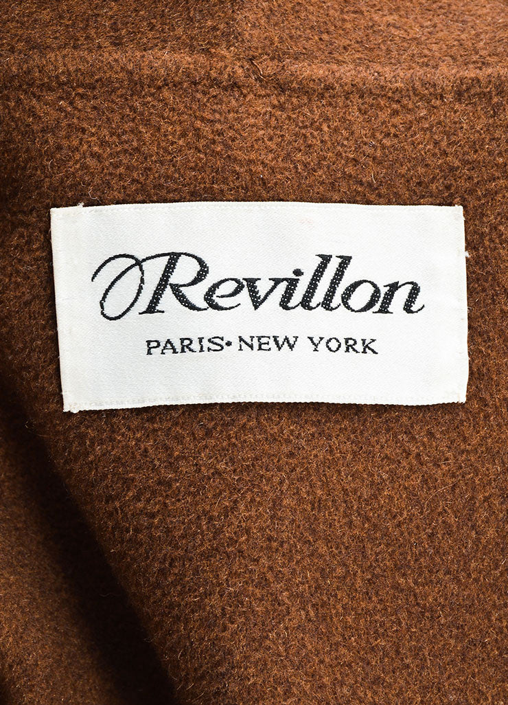 Revillon Camel Wool Fur Trim Collar Open Long Coat Brand