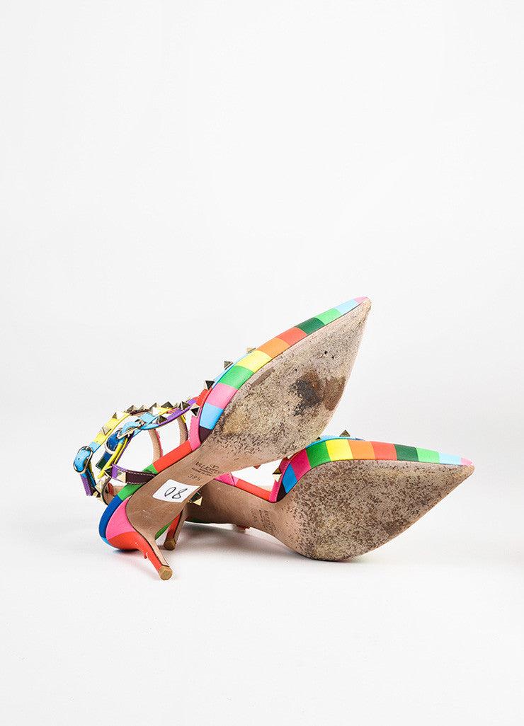 "Valentino Multicolor Leather Chevron Print ""Rockstud 1973"" Caged Pumps Outsoles"
