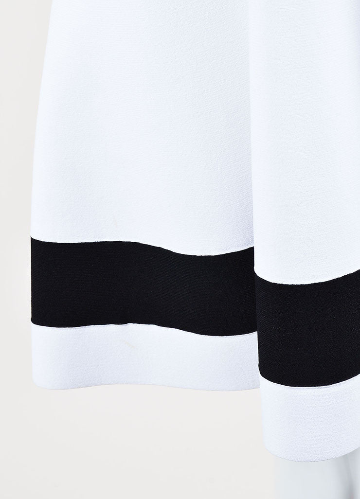 White and Black Victoria Beckham Stripe Sleeveless Fit and Flare Dress Detail
