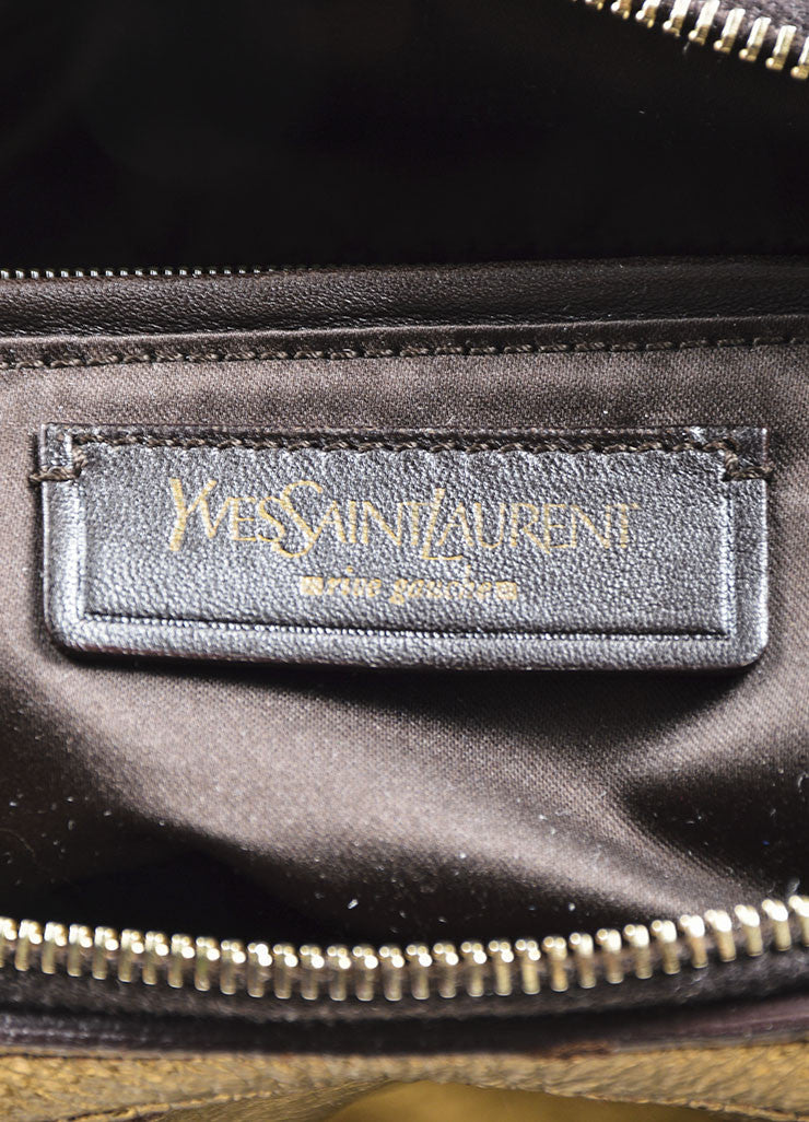 Gold Metallic Yves Saint Laurent Leather Tote Bag Brand