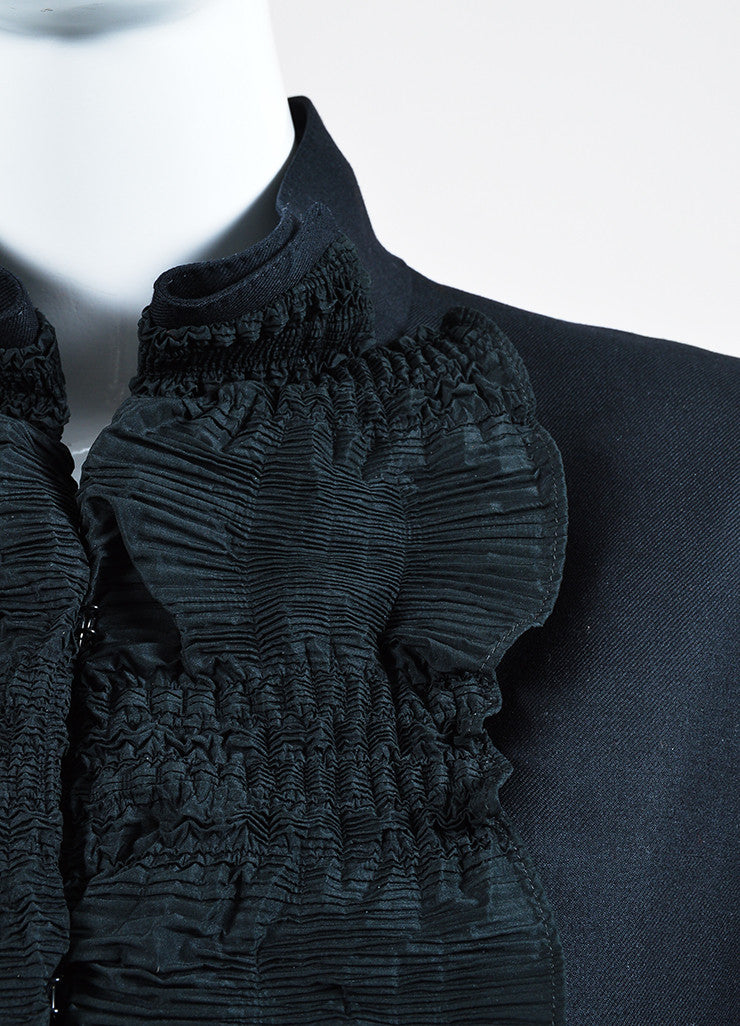 Black Yves Saint Laurent Wool Pleated Ruffle Trim Jacket Detail