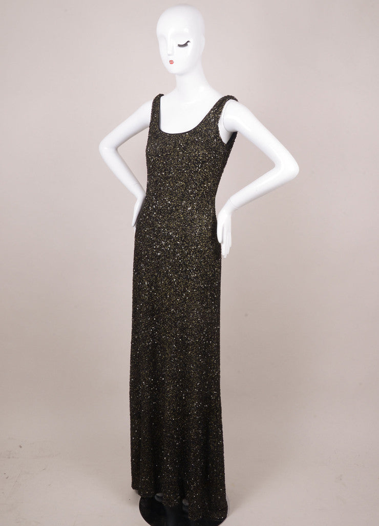Black and Gold Sleeveless Beaded Sequin Gown