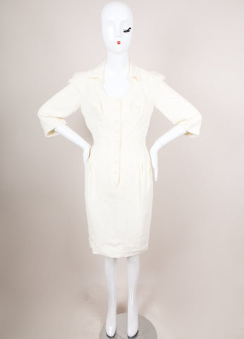 Cream Snap Front Three Quarter Length Sleeve Dress