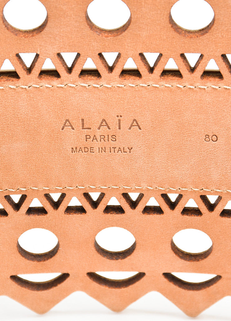 Alaia Beige Leather Triangle Circle Zig Zag Cut Out Wide Statement Belt Brand