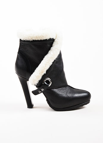 Alexander McQueen Black and White Leather Shearling Trim Heeled Boots Sideview