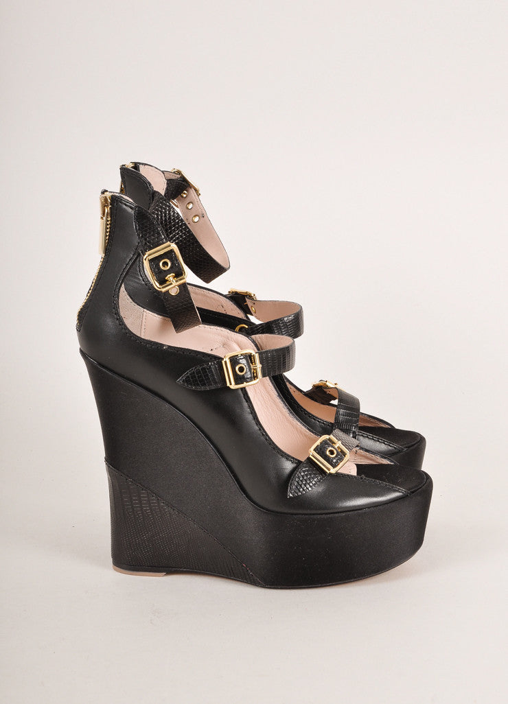 Baldan Black and Gold Toned Triple Buckled Strap Leather and Satin Wedges Sideview
