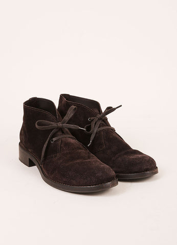 Bottega Veneta Dark Brown Suede Leather Lace Up Shoes Frontview