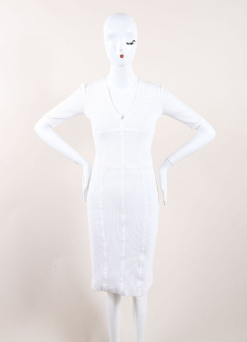 Burberry White Mesh Net Jersey Knit Sporty Crop Sleeve Dress Frontview