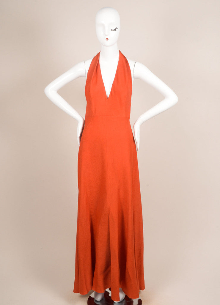 Carolina Herrera Orange Silk Wool Blend Halter Full Length Maxi Dress Frontview