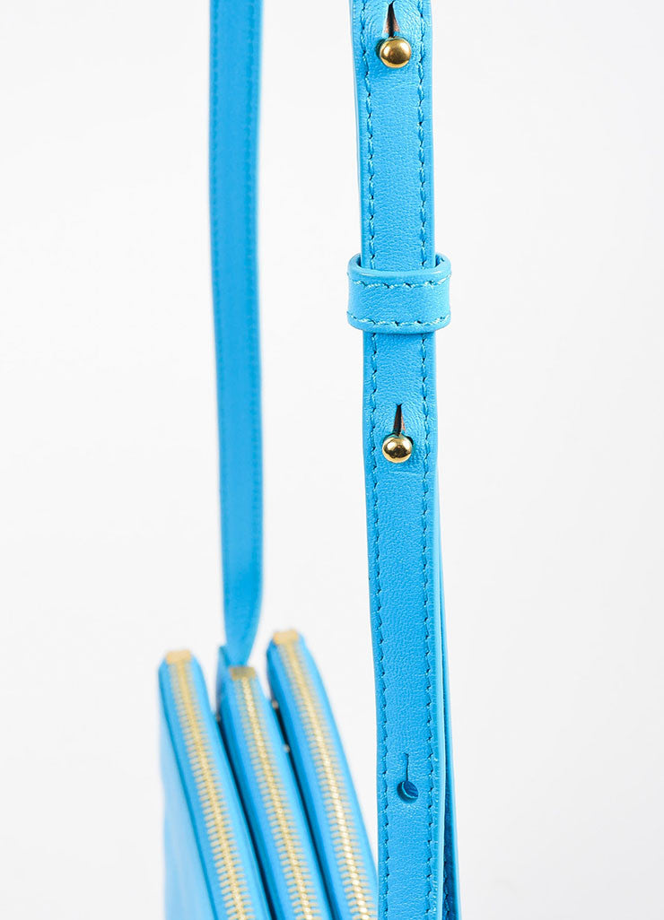 "Turquoise Celine Lambskin Leather ""Trio"" Crossbody Bag Detail 2"