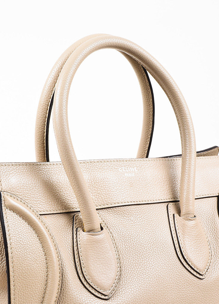 "Celine Taupe Grain Leather Top Handle ""Mini Luggage"" Tote Bag Detail 2"