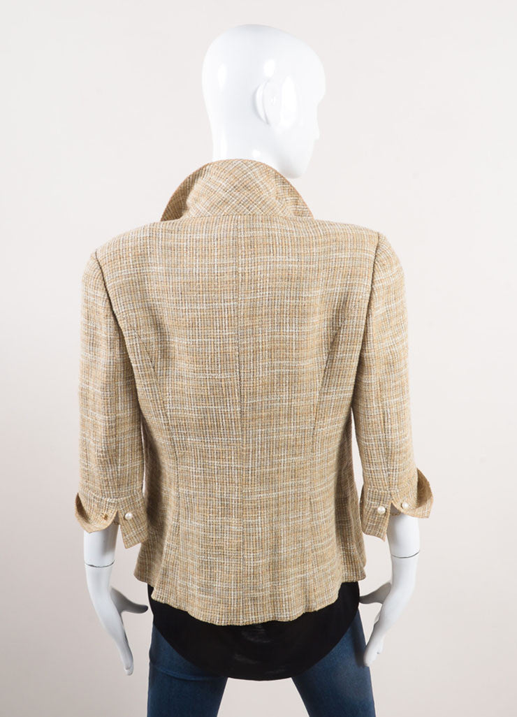 "Chanel New With Tags Beige Linen Faux Pearl ""CC"" Button Jacket Backview"