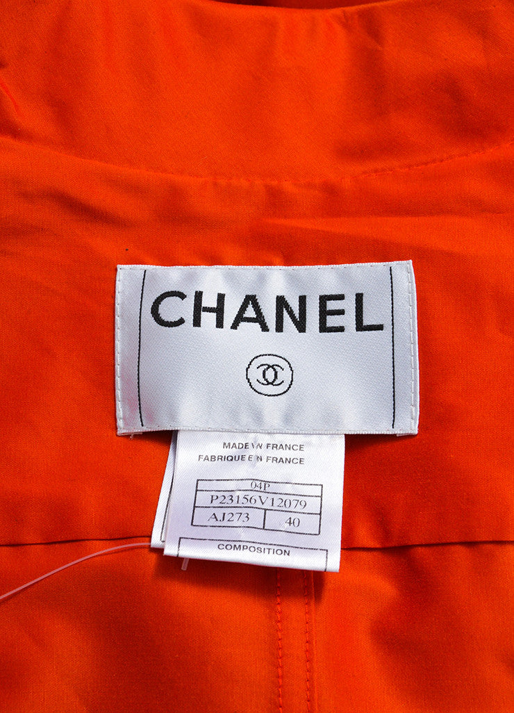 Tomato Red Chanel Silk Belted Trench Jacket Brand