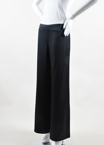 Chanel Black Silk Side Zip Wide Leg Palazzo Pants Sideview