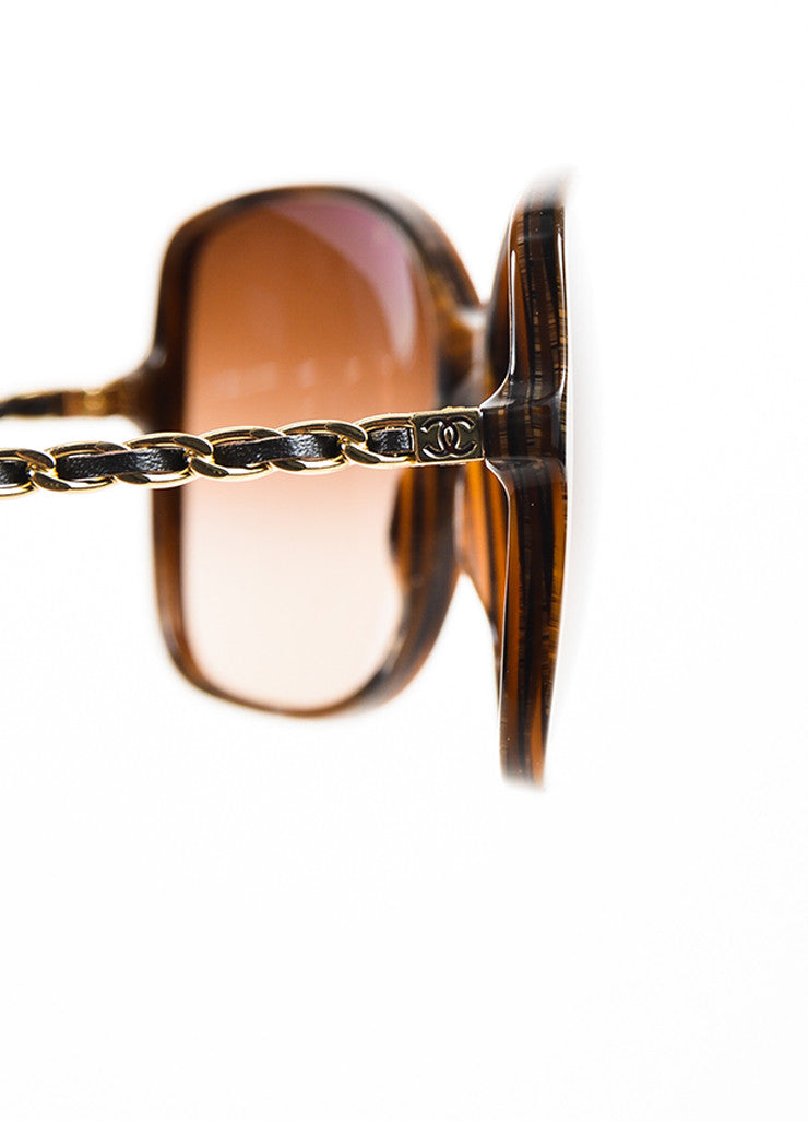 "Chanel Brown and Gold Toned Acetate Lambskin ""Square Chain"" Sunglasses Detail"