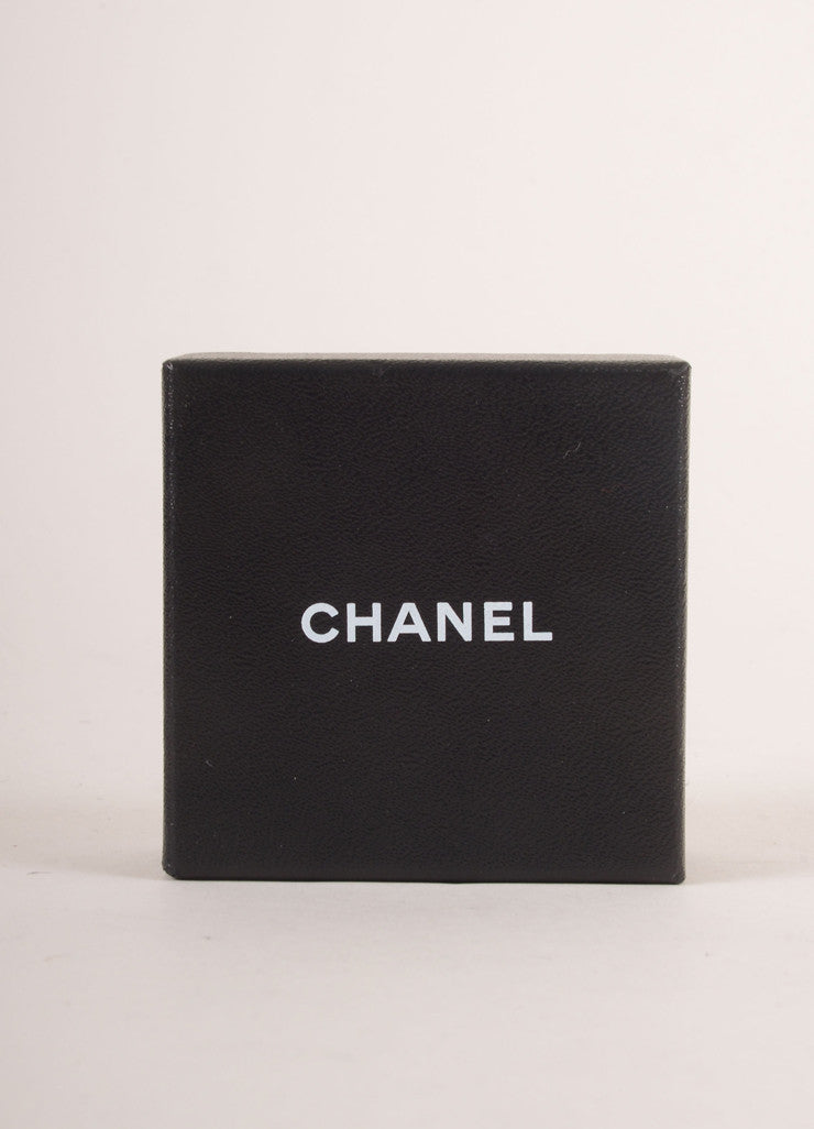 Chanel Black Leather and Gold Toned Chain Link Toggle Bracelet Box