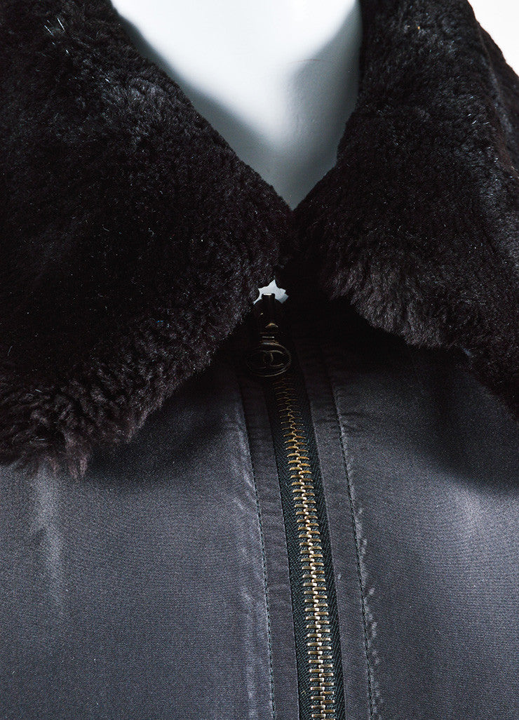 Black Chanel Silk Beaver Fur Collar Zip Jacket Detail