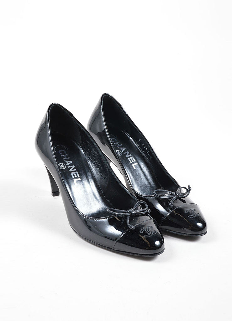 "Chanel Black Patent Leather ""CC"" Logo Bow Detail Almond Toe Pumps Frontview"