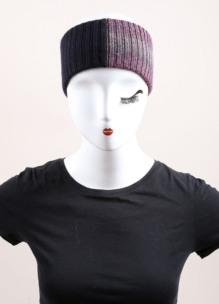 Chanel Purple and Navy Blue Knit Sweater Headband  Frontview