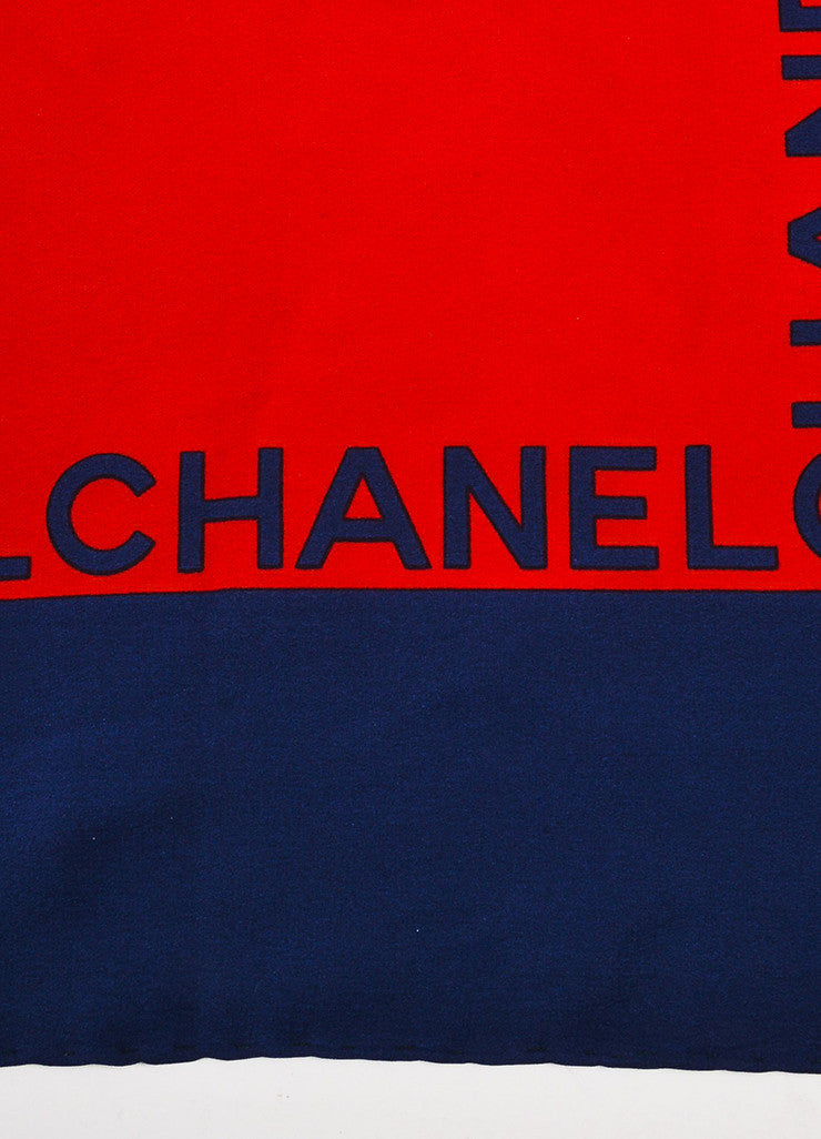 Chanel Red and Navy Blue Silk Quilted Bag Chain Print Square Scarf Brand
