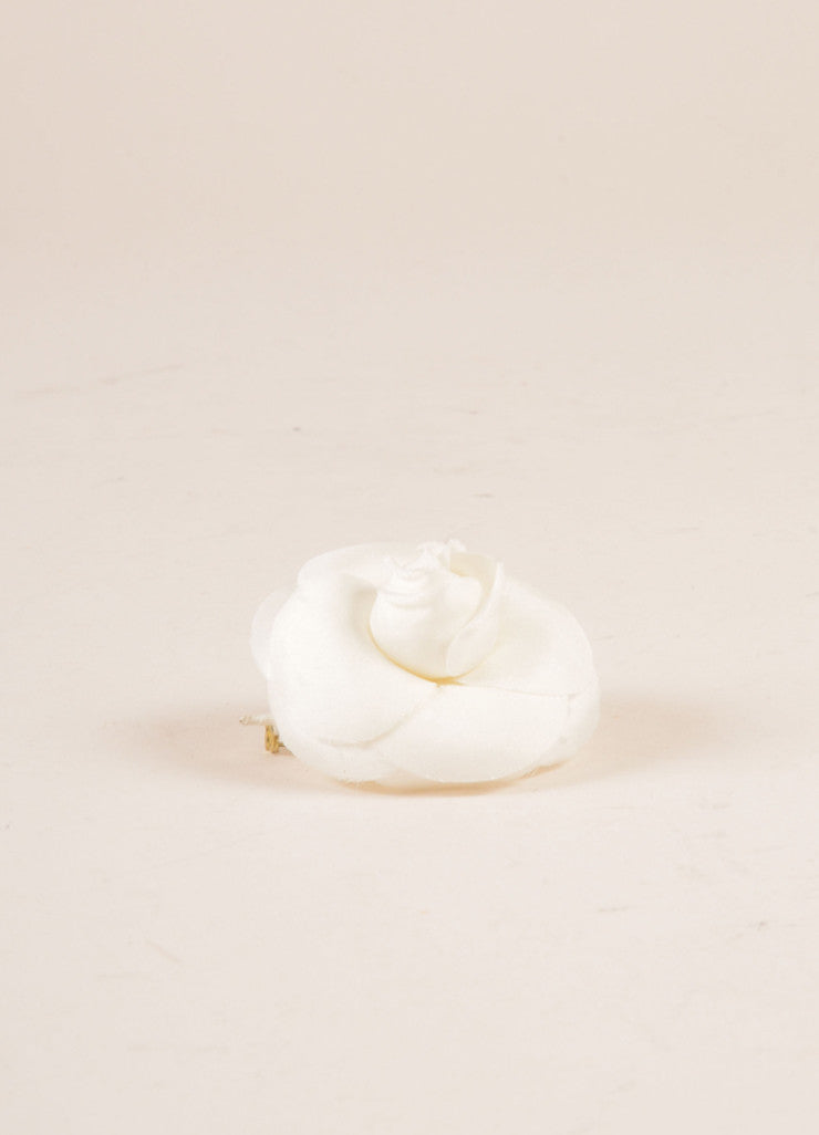 Chanel White Flower Pin Sideview