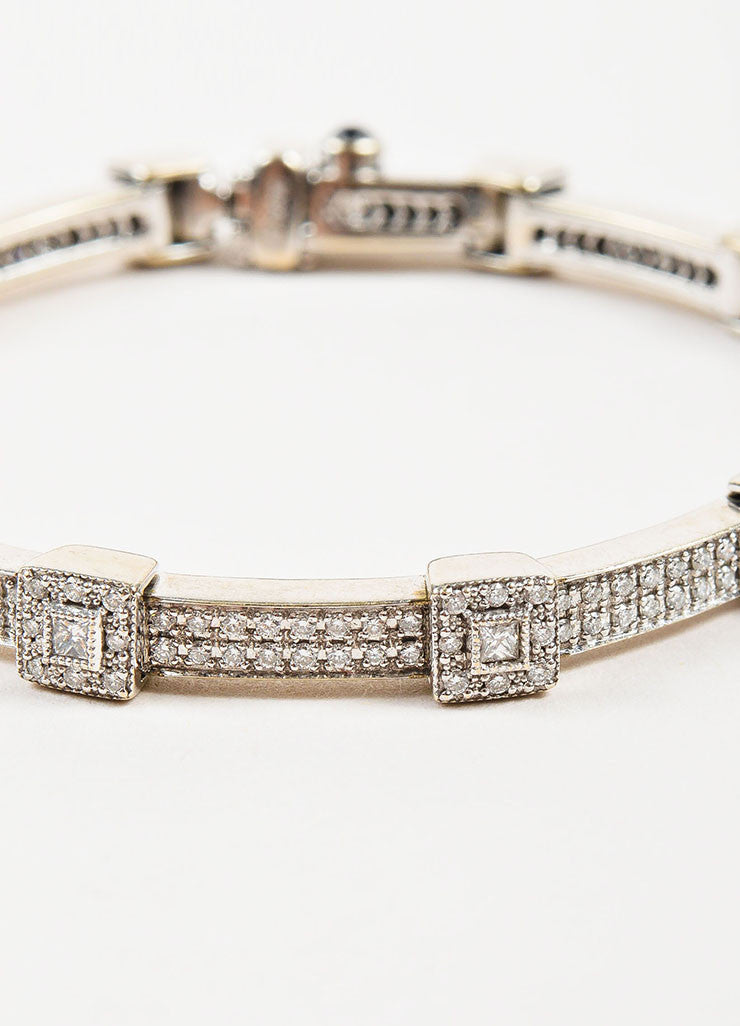 "Charriol 18K White Gold and Diamonds ""Flamme Blanche"" Tennis Bracelet Detail"