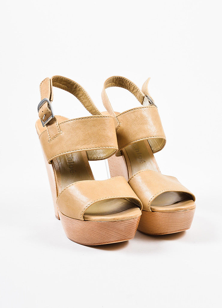 Chloe Tan Leather Wooden Lucite Platform Chunky Heel Sandals Frontview