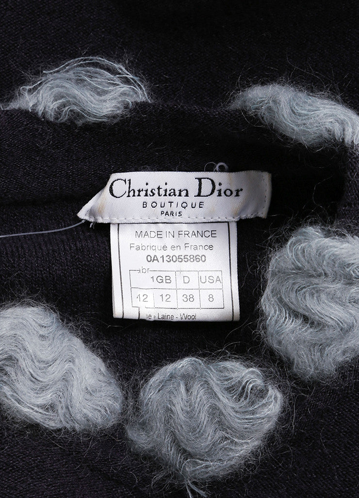 Christian Dior Grey and Light Blue Wool Blend Pom Pom Long Sleeve Sweater Brand