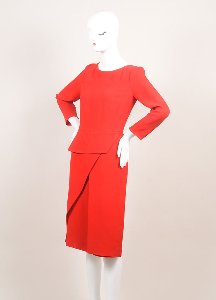 Christian Dior New With Tags Red Silk Long Sleeve Asymmetrical Peplum Dress Sideview