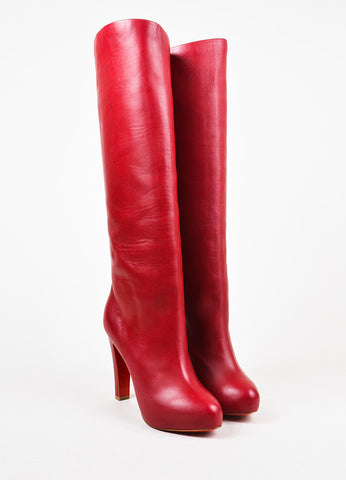 "Christian Louboutin Red Leather ""Vicky Botta"" Tall Heeled Boots Frontview"