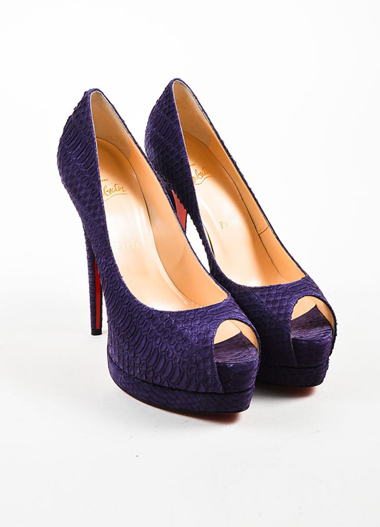 "Christian Louboutin Purple Watersnake Nubuck ""Palais Royal"" Pumps  Frontview"