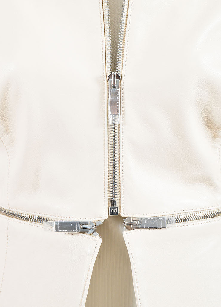 Cream Leather Christopher Kane Zip Off Cropped Jacket Detail