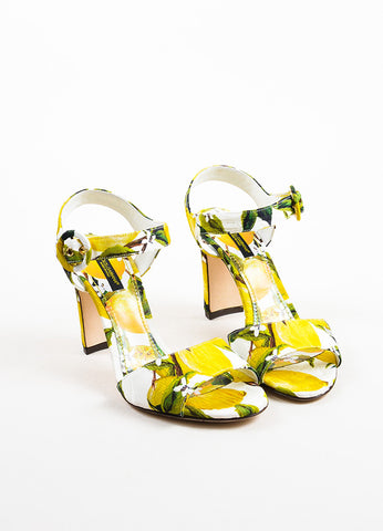 Dolce & Gabbana Yellow and White Brocade Lemon Printed Heeled Sandals Frontview