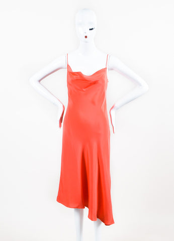 Enrique Martinez Coral Silk Spaghetti Strap Cocktail Dress Frontview