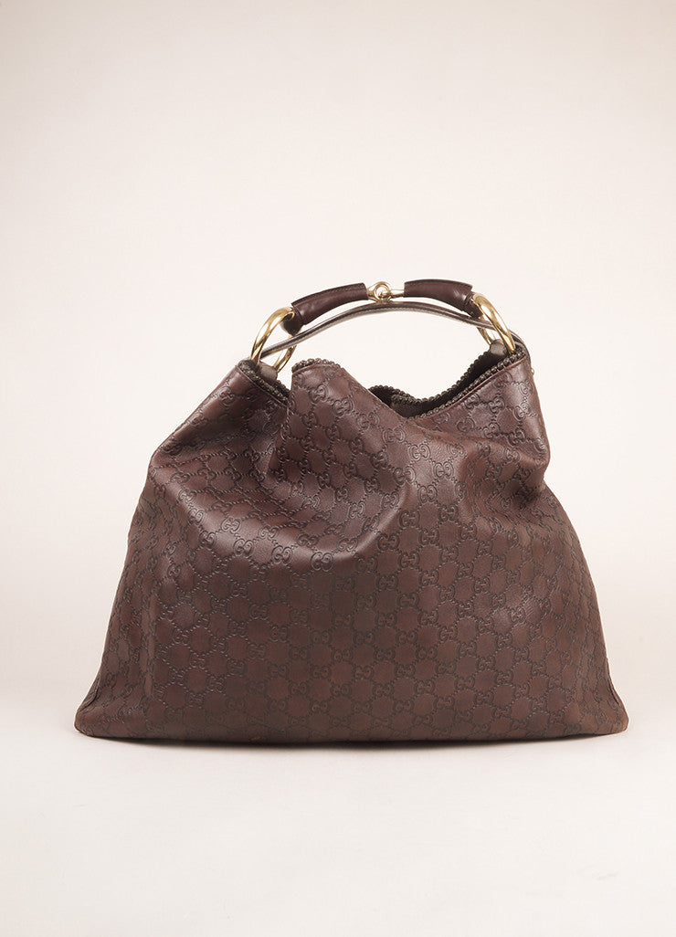 "Gucci Chocolate Brown Leather Large Horsebit ""Guccissima"" Hobo Bag Frontview"