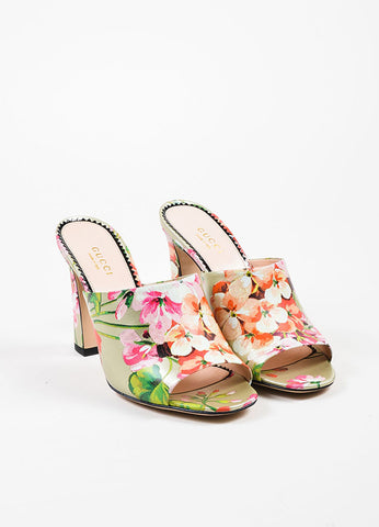 "Gucci Silver and Pink Leather Floral ""Soft St. Blooms"" Mule Sandals Frontview"