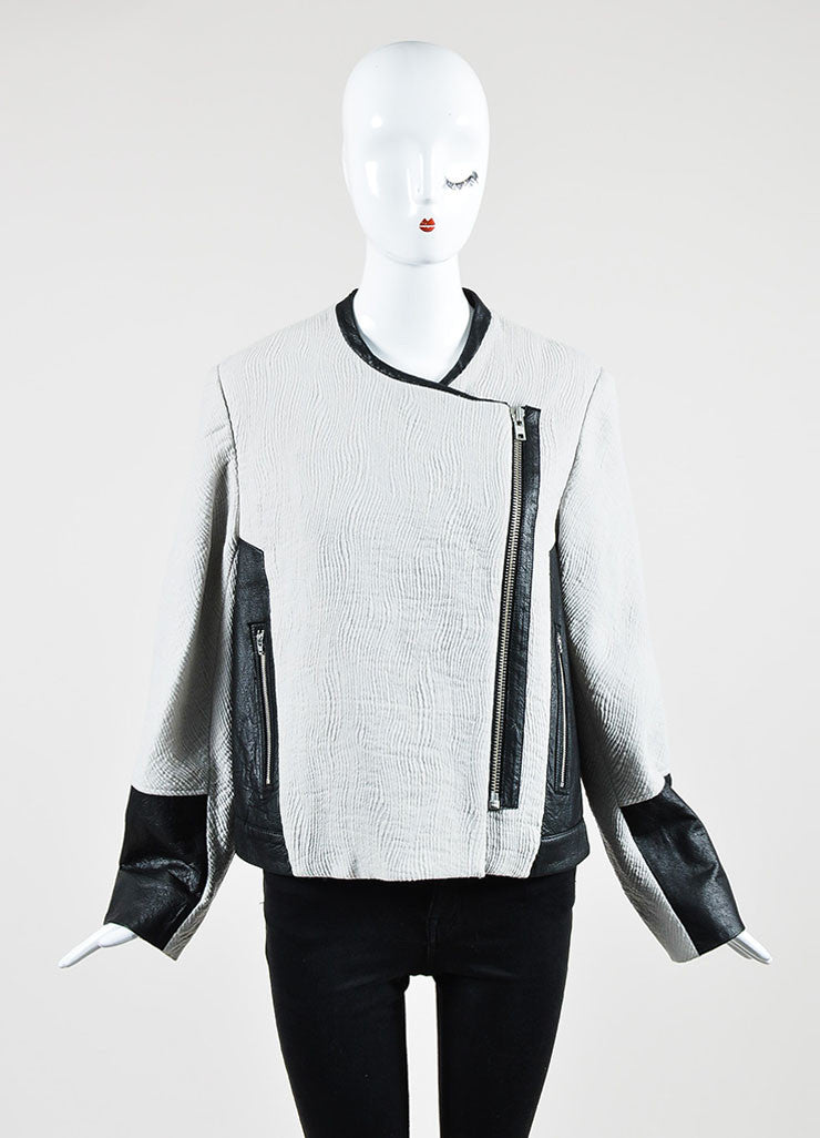 Grey and Black Helmut Lang Wool Blend Jacquard Leather Zip Jacket Frontview 2