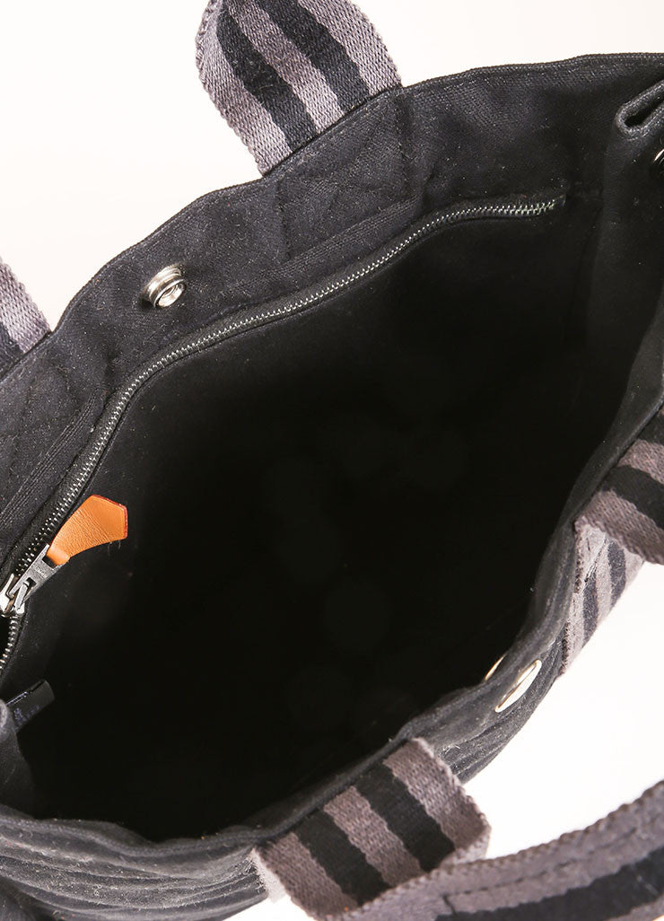 Hermes Black and Grey Canvas Striped Tote Bag Interior