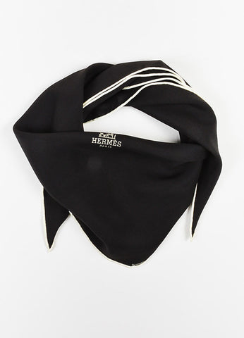 Hermes Black and White Silk Logo Print Diamond Scarf Frontview