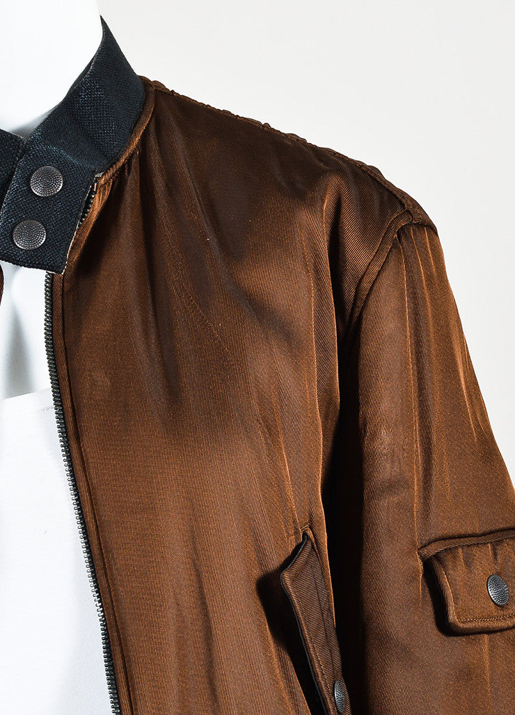 Jean Paul Gaultier Femme Brown Padded Long Sleeve Bomber Jacket Detail