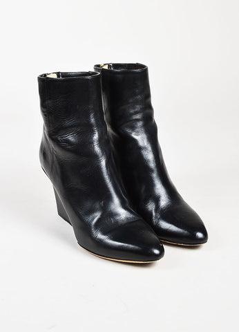 Jimmy Choo Black Leather Pointy Toe Mid Calf Wedge Boots Frontview