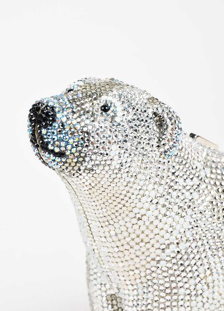 Judith Leiber Couture Silver Rhinestone Polar Bear Chain Strap Clutch Bag Detail 2