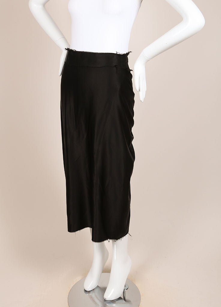 Lanvin Black Silk Satin Ruched Back Unfinished Seam Midi Skirt Sideview