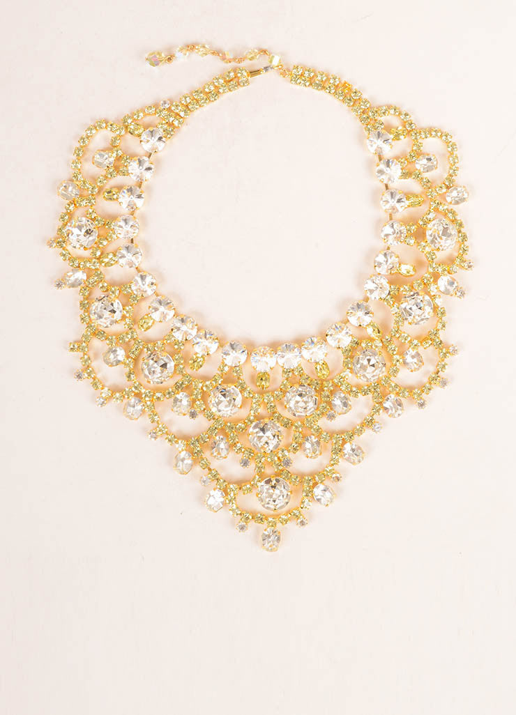 Lawrence Vrba Gold Toned, Clear, and Green Oversized Bib Necklace Frontview