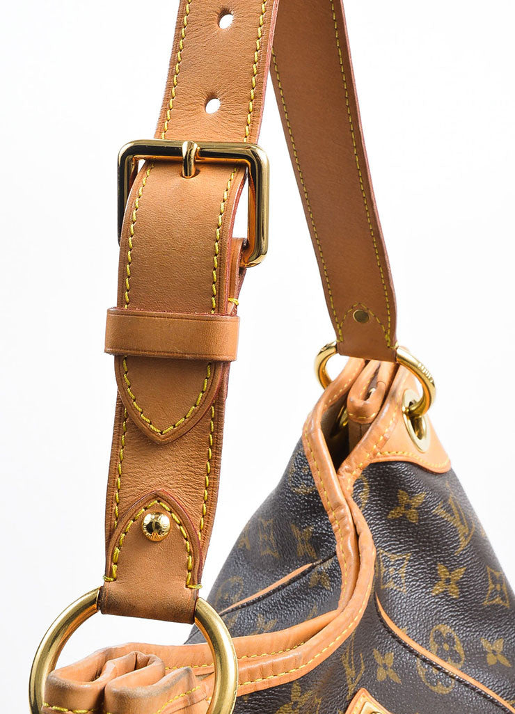 "Brown and Tan Louis Vuitton Coated Canvas and Leather Monogram ""Galliera PM"" Hobo Bag Detail 2"