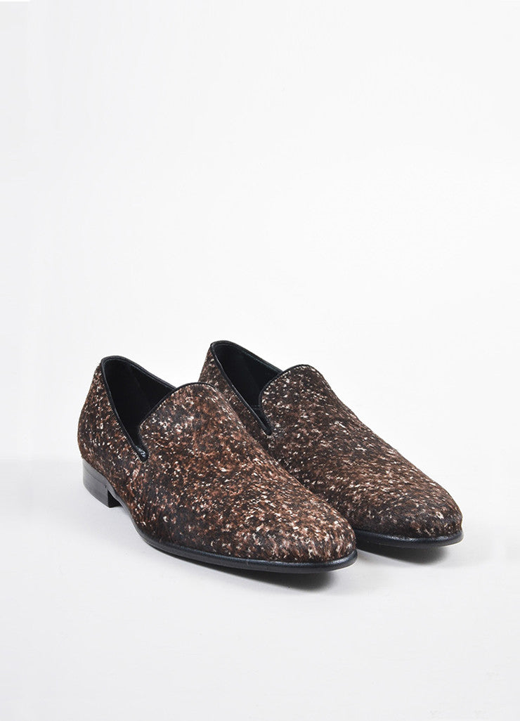 Men's Dolce & Gabbana Brown White Ponyhair Spotted Loafers Front